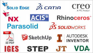 Viewers for CATIA V4, CATIA V5, CATIA V6 3DEXPERIENCE, Parasolid, IGES, Inventor, Autodesk Design Review, JT, Creo, SOLIDWORKS, Solid Edge, RHINO, ACIS, Sketchup, STEP, NX, CGR, and STL